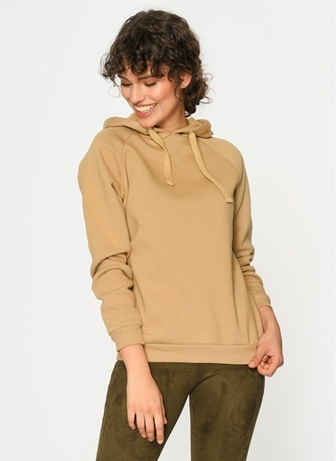 Loves You Kapüşonlu Sweatshirt Camel